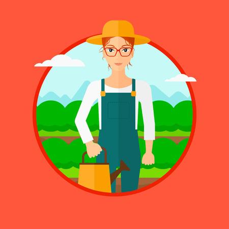 キャベツ畑の水まき缶を保持している女性。赤の背景に分離されたサークルでベクトル フラットなデザイン イラスト。  イラスト・ベクター素材