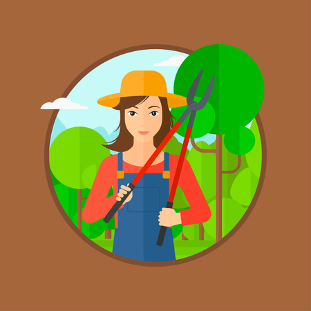 pruner: A woman working in the garden with pruner. Vector flat design illustration in the circle isolated on brown background. Illustration