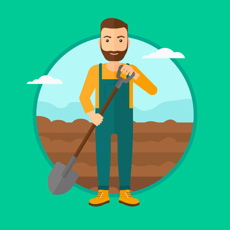 A hipster man with the beard working on the field with shovel. Vector flat design illustration in the circle isolated on green background.