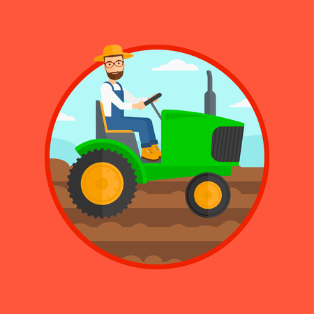 plow: A hipster man with the beard using a tractor to plow a field. Vector flat design illustration in the circle isolated on red background. Illustration