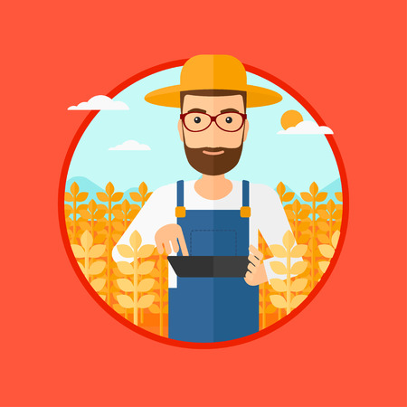 A hipster man with the beard checking plants on a field and working on a digital tablet. Vector flat design illustration in the circle isolated on red background. Illustration