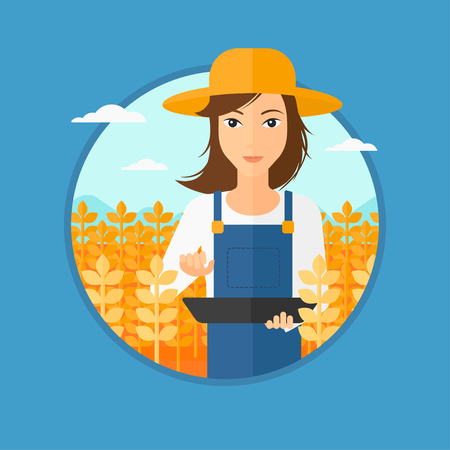 A woman checking plants on a field and working on a digital tablet. Vector flat design illustration in the circle isolated on light blue background.