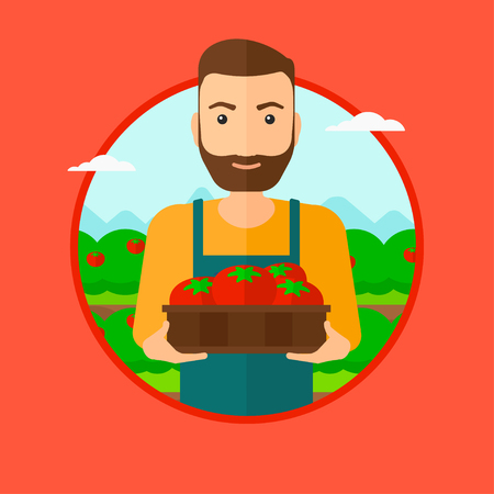 red beard: A hipster man with the beard standing in the field and holding a box with tomatoes. Vector flat design illustration in the circle isolated on red background.
