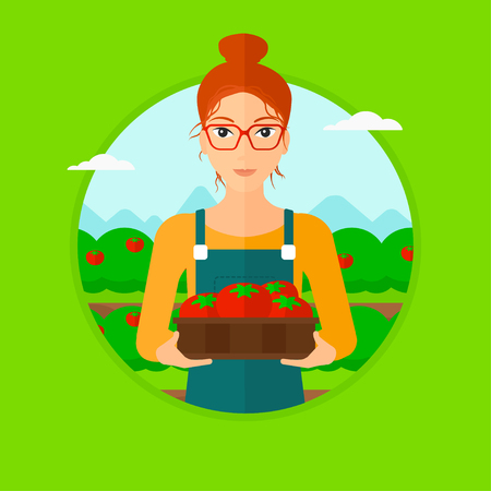 gardening: A woman standing in the field and holding a box with tomatoes. Vector flat design illustration in the circle isolated on light green background.