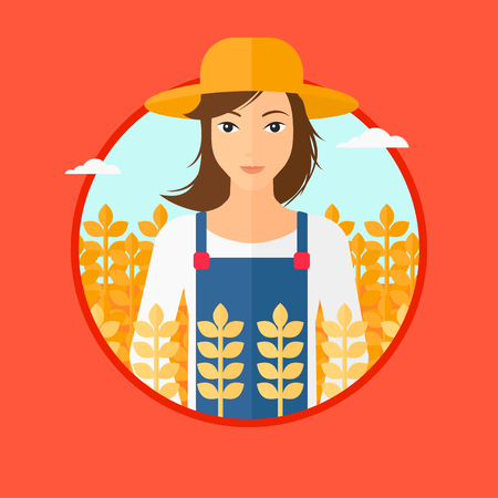 peasant woman: A woman standing in a wheat field. Vector flat design illustration in the circle isolated on red background.