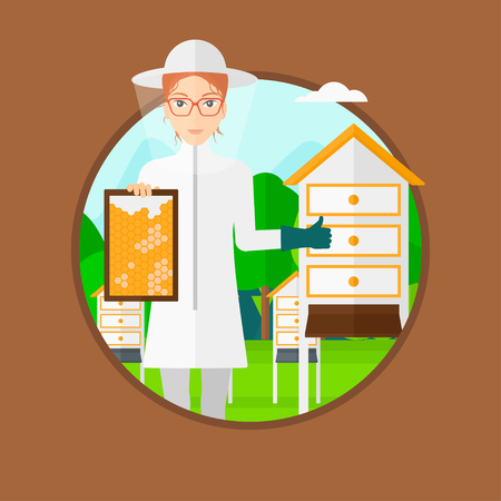 A woman wearing protective suit holding a framework in hand and showing thumb up while standing at apiary. Vector flat design illustration in the circle isolated on brown background.