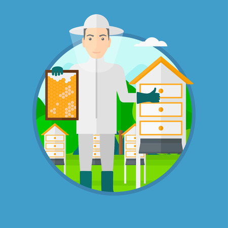 A man wearing protective suit holding a framework in hand and showing thumb up while standing at apiary. Vector flat design illustration in the circle isolated on light blue background. Ilustração