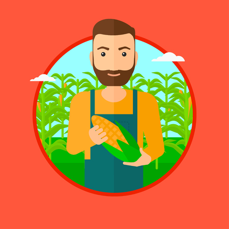 corn on the cob: A hipster man with the beard standing in the field and holding a corn cob. Vector flat design illustration in the circle isolated on red background. Illustration