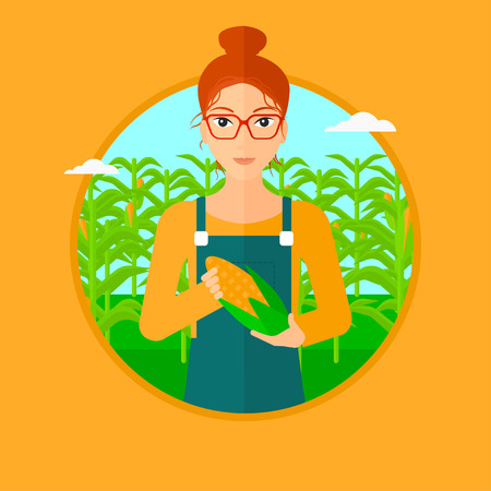 A woman with standing in the field and holding a corn cob. Vector flat design illustration in the circle isolated on orange background.