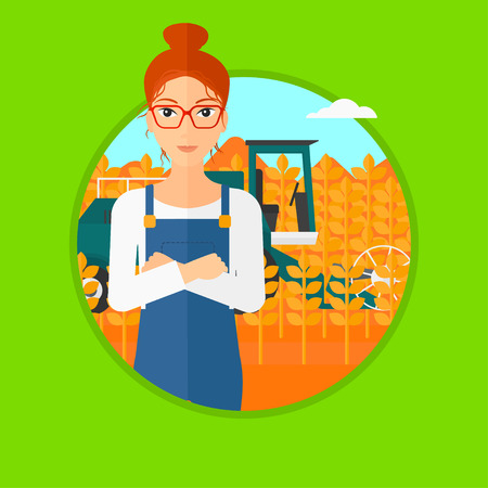 peasant woman: A hipster man with the beard standing in wheat field and a combine working on a background. Vector flat design illustration in the circle isolated on light green background.