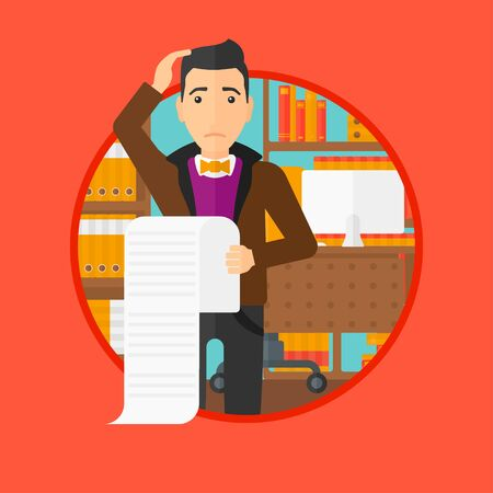 worried man: A worried man holding a long bill in office. Vector flat design illustration in the circle isolated on red background.