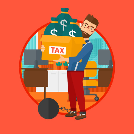 Chained to a large ball hipster man with the beard standing in office and carrying heavy box with bags full of taxes. Vector flat design illustration in the circle isolated on red background. Ilustração