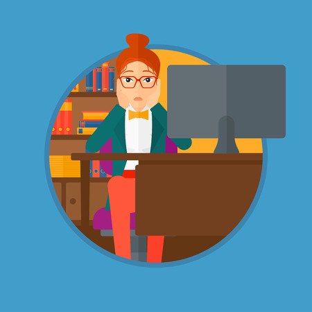 clutching: A tired woman sitting at workplace in front of computer monitor and clutching her head. Vector flat design illustration in the circle isolated on light blue background.