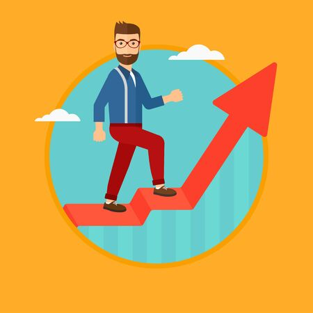uprising: A hipster man with the beard standing on an uprising chart. Vector flat design illustration in the circle isolated on orange background. Illustration