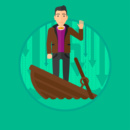 unstable: A scared businessman standing in a sinking boat and asking for help. Vector flat design illustration in the circle isolated on green background.