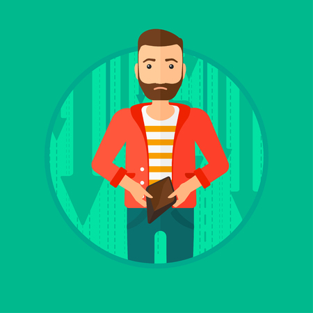 empty wallet: A hipster man with the beard showing his epmty purse on a background with decreasing chart. Vector flat design illustration in the circle isolated on green background.