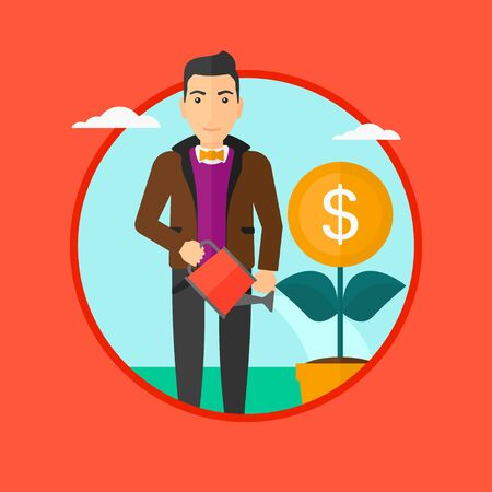 A man watering a money flower. Vector flat design illustration in the circle isolated on red background.