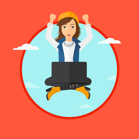 woman laptop happy: A happy woman with raised hands sitting on a cloud with a laptop. Vector flat design illustration in the circle isolated on red background. Illustration