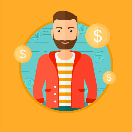 him: A hipster businessman with golden coins around him. Vector flat design illustration in the circle isolated on orange background. Illustration