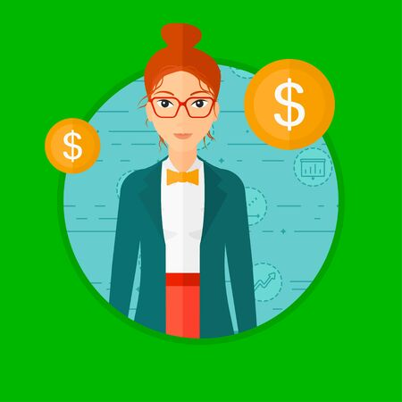 manager: A business woman with golden coins around her.  Vector flat design illustration in the circle isolated on dark green background.