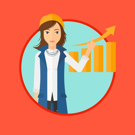 forefinger: A woman showing with her forefinger at increasing chart. Vector flat design illustration in the circle isolated on red background. Illustration