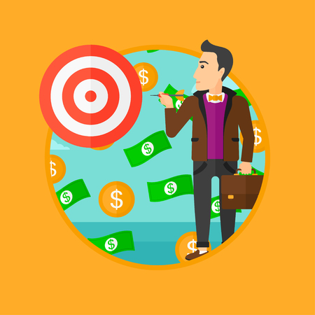 money flying: A businessman aiming at a target board and money flying around him. Vector flat design illustration in the circle isolated on orange background. Illustration