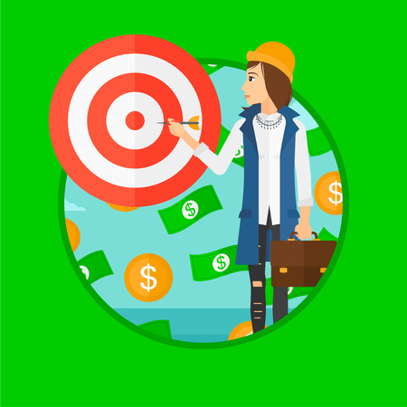 money flying: Un hombre de negocios apuntando a un tablero de destino y dinero volando a su alrededor. Vector ilustración de diseño plano en el círculo aislado en el fondo de color verde oscuro.