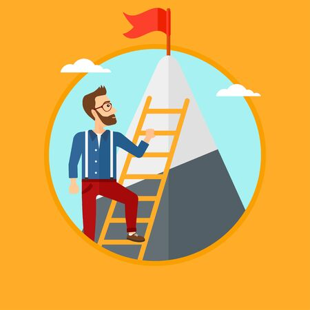 stair climber: A hipster man with the beard holding the ladder to get the red flag on the top of mountain. Vector flat design illustration in the circle isolated on orange background. Illustration