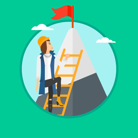stair climber: A woman holding the ladder to get the red flag on the top of mountain. Vector flat design illustration in the circle isolated on green background.