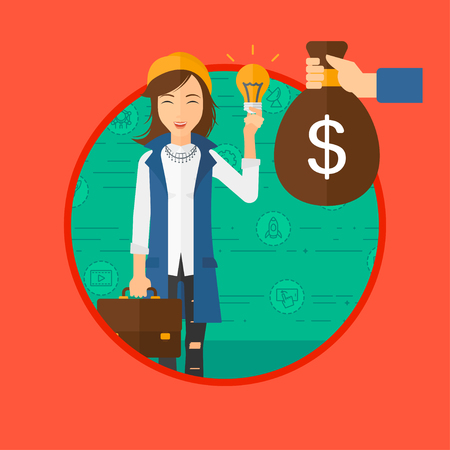 exchanging: A woman exchanging her idea bulb to money bag. Vector flat design illustration in the circle isolated on red background. Illustration