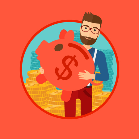 manager: A hipster man with the beard holding a big piggy bank in hands and stacks of golden coins behind him. Vector flat design illustration in the circle isolated on red background. Illustration