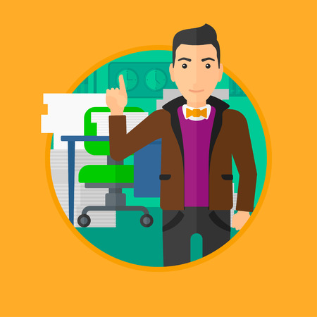 forefinger: A man standing in office and pointing up with his forefinger. Vector flat design illustration in the circle isolated on orange background. Illustration