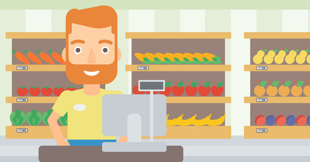 supermarket checkout: A hipster salesman with the beard standing at checkout on the background of supermarket shelves with products vector flat design illustration. Horizontal layout. Illustration