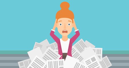 pile of newspapers: A stressed woman clutching her head because of having a lot of work to do with a heap of newspapers in front of her vector flat design illustration. Horizontal layout. Illustration