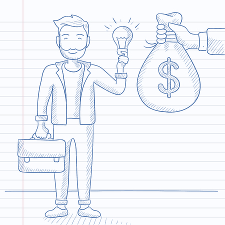 A hipster man with the beard exchanging his idea bulb to money bag. Hand drawn vector sketch illustration. Notebook paper in line background. Illustration