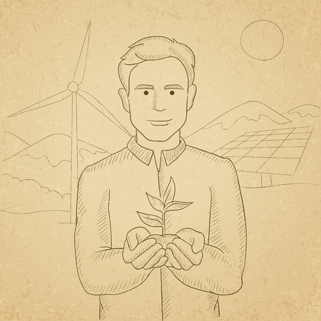 hands holding plant: A man holding in hands a small plant in soil on a background with solar pannels and wind turbins. Hand drawn vector sketch illustration. Old paper vintage background.