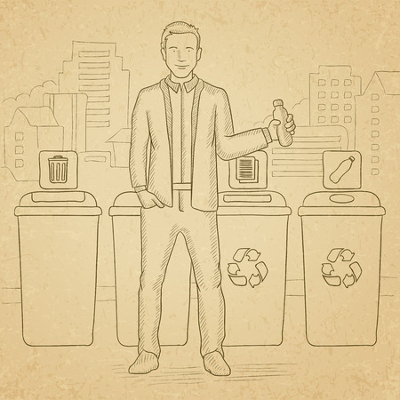 appropriate: A man standing near four bins and throwing a plastic bottle in an appropriate bin on a city background. Hand drawn vector sketch illustration. Old paper vintage background.