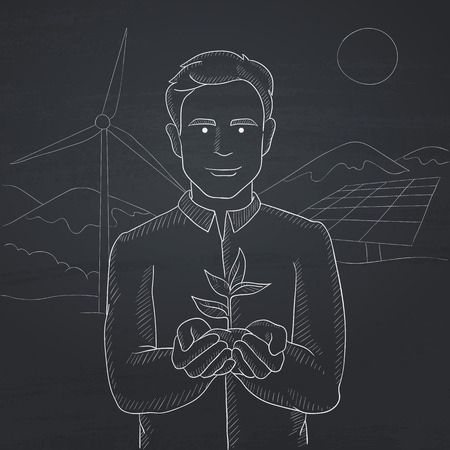 hands holding plant: Man holding in hands a small plant in soil on a background with solar pannels and wind turbins. Hand drawn in chalk on a blackboard vector sketch illustration.