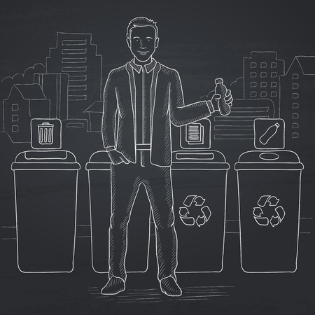 A man standing near four bins and throwing a plastic bottle in an appropriate bin on a city background. Hand drawn in chalk on a blackboard vector sketch illustration. Illustration