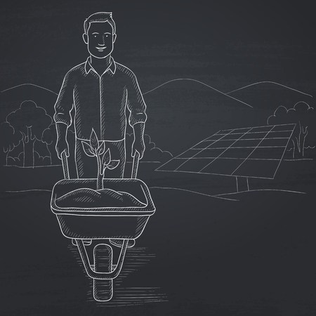 A man standing with a plant and soil in a wheelbarrow on a background with solar panels. Hand drawn in chalk on a blackboard vector sketch illustration.