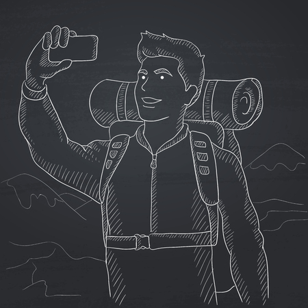 A man making selfie on the background of hilly countryside. Hand drawn in chalk on a blackboard vector sketch illustration. Imagens - 57122738