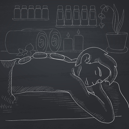 lying in bed: A man relaxing while getting stone therapy massage in spa center. Hand drawn in chalk on a blackboard vector sketch illustration.