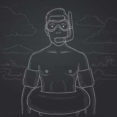 rubber tube: A man standing in mask, tube and rubber ring on the background of sand beach and sea. Hand drawn in chalk on a blackboard vector sketch illustration.