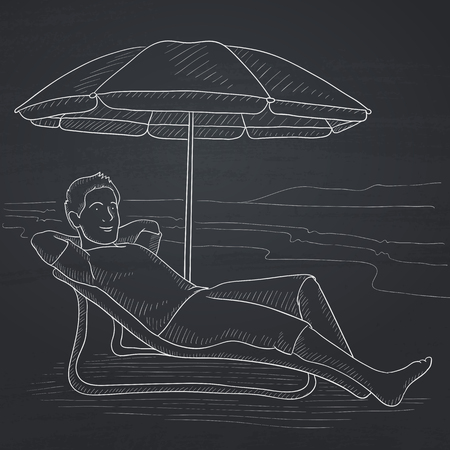 A man sitting in a chaise longue under umbrella on the background of sand beach and sea. Hand drawn in chalk on a blackboard vector sketch illustration.