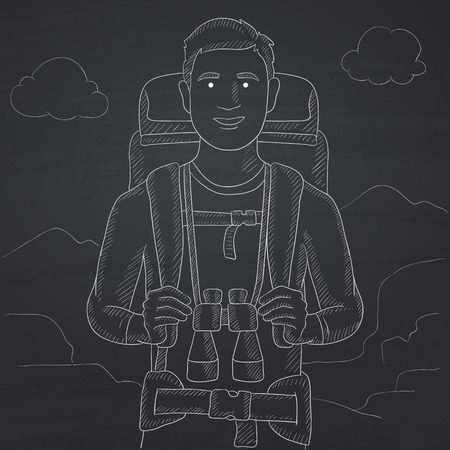 hilly: A man with backpack and binoculars hiking on the background of hilly countryside. Hand drawn in chalk on a blackboard vector sketch illustration. Illustration