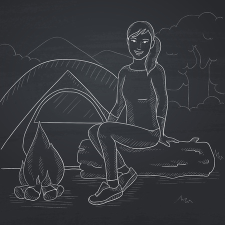 camping site: A woman sitting on a log near the fire on the background of camping site with tent. Hand drawn in chalk on a blackboard vector sketch illustration.