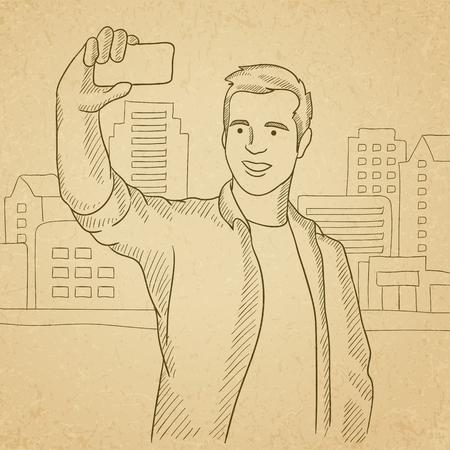 old phone: A man making selfie on a city background. Hand drawn vector sketch illustration. Old paper vintage background.