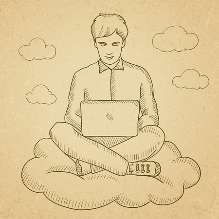 old man sitting: A man sitting on a cloud with a laptop on his knees. Hand drawn vector sketch illustration. Old paper vintage background.