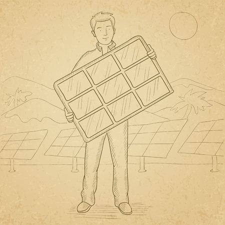 hand holding paper: A man holding a solar panel in hands on a background with solar panels. Hand drawn vector sketch illustration. Old paper vintage background.