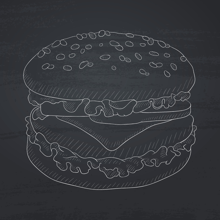 beefburger: Burger with meat, cheese and lettuce. burger hand drawn in chalk on a blackboard. burger vector sketch illustration.